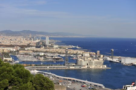 An aerial shot of the east side of Barcelona�s coast line. Taken from the top of the Mapfre tower. photo
