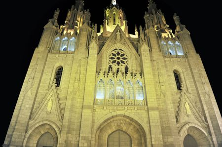 Tibidabo churchtemple, at the top of tibidabo hill, near Barcelona, Spain. photo