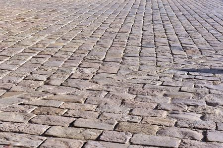 cobbled stone road in Barcelona photo