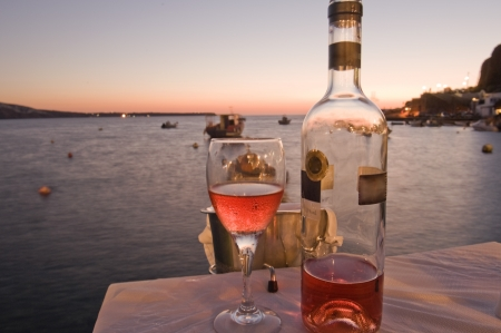 romantic evening with wine: A local variety of rose wine from the Greek isle of Santorini
