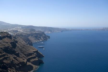 Gorgeous view of romantic Santorinis coast. Greece.  photo