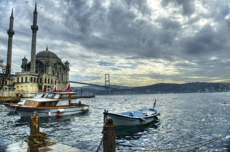 turkey istanbul: a beautiful view of Ortakoy Mosque and Bosphorus bridge in Istanbul, Turkey