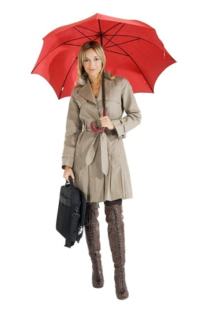 umbrella month: happy smiling woman with her raincoat and umbrella