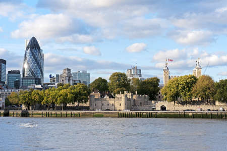 30 st mary axe: London, September 2011-Cityscape of London and 30 St Mary Axe Building Stock Photo