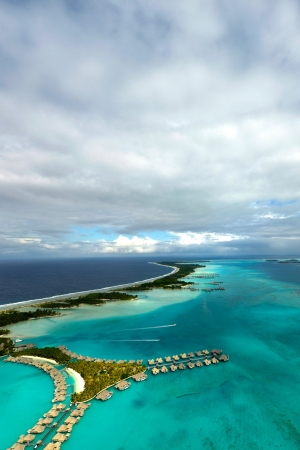 Aerial View of the French Polynesian Island of Bora Bora, in the pacific Ocean. photo
