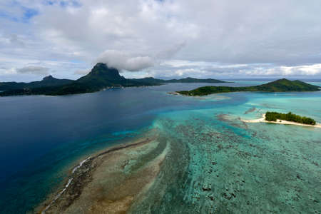 Tropical island at Bora bora - aerial view Archivio Fotografico