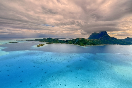 Tropical island at Bora bora - aerial view Stock Photo