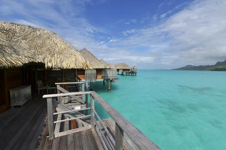 Bora Bora. View over beautiful turquoise lagoon to volcanic Mount Otemanu, Bora Bora Island, Society Islands, French Polynesia.