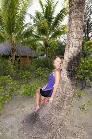 borabora: Young women in the beach