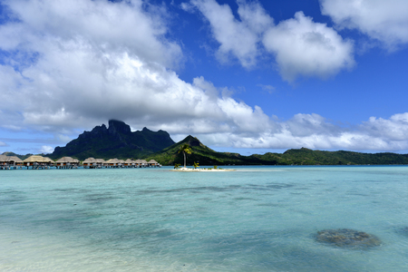 Crystal clear waters of tropical Bora Bora in Bora Bora, French Polynesia