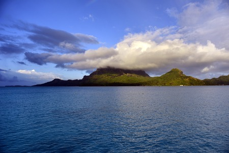 otemanu: Bora Bora. View over beautiful blue lagoon to volcanic Mount Otemanu, Bora Bora Island, French Polynesia.