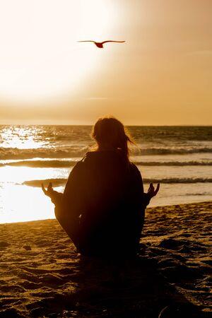 Sunset yoga photo
