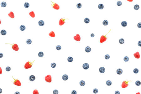 Pattern with blueberries and raspberries. Summer fruit background. Organic food. Vegetarian. Natural product.