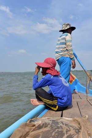 mekong: Fisherman in Mekong River, Cambodia