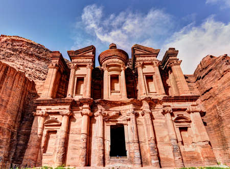 1st century: The Monastery, Petras largest to monument in Jordan, dates from the 1st century BC, the name is the Arabic translation of the name Deer Stock Photo