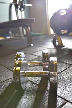 Dummbells at the fitness center