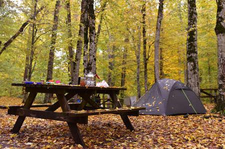 Breakfast at the Seven Lakes National Park, Turkey Stock Photo