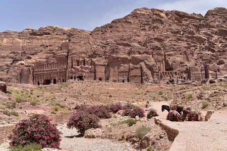 colonnaded: Royal Tombs of archaeological city of Petra, Jordan Stock Photo