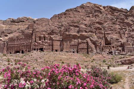 Royal Tombs of archaeological city of Petra, Jordan Stock Photo