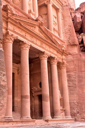 The Treasury of the Pharaoh building carved into the rock face at Petra in Jordan