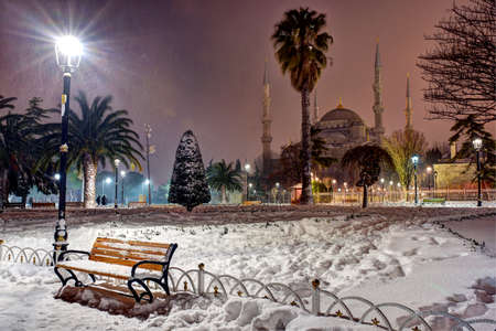 Sultan Ahmet Square in a snowy night in Istanbul