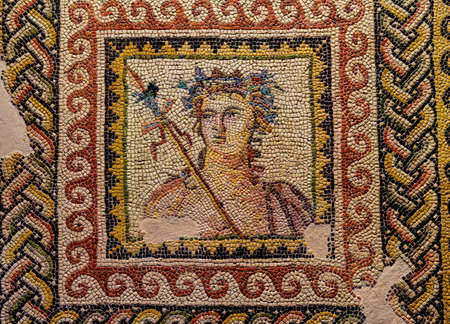 Dionysus bust, mosaic from Zeugma Zeugma Mosaic Museum in Gaziantep