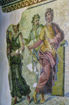 Mosaic of the marriage of Dionysos and Ariadne from Zeugma Museum in Gaziantep, Turkey Editorial