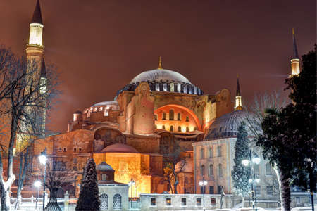 Snowy night in Istanbul, Hagia Sophia Museum Stock Photo