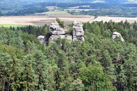 Panoramic view of sandstone rocks in Cesky Krumlov, Bohemian Paradise, Hruboskalsko, Czech Republic Stock Photo