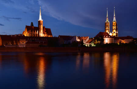 Oder to the Cathedral Island. Ostrow Tumski. Wroclaw, Poland Stock Photo