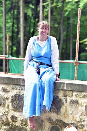 CESKY RAJ - CZECH REPUBLIC  29.07.2017: Valdstejn Castle, Czech Republic, People wearing medieval costume