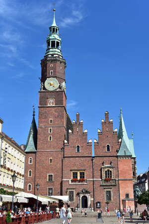 XIII century Gothic Town Hall in Wroclaw, Poland, view from west