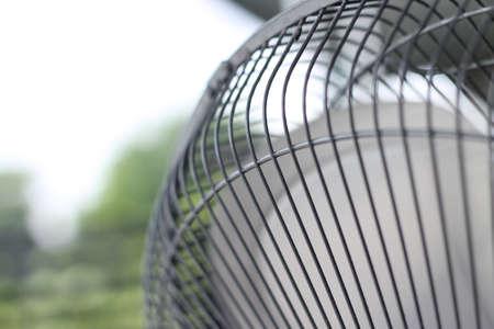 Closeup Steel fan. Selective Focus