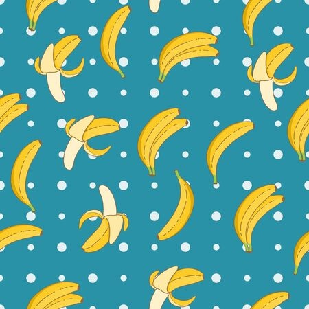 Yellow Fresh Banana Seamless Pattern. Unique and Trendy seamless pattern background for your unique design.