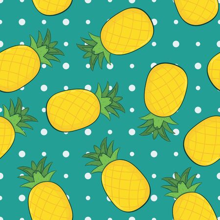 Fresh Yellow Pineapple Irregular Seamless Pattern. Unique and Trendy irregular seamless pattern background for your unique design. 일러스트