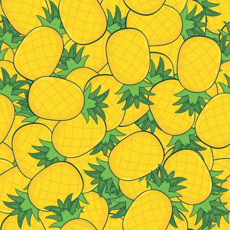 Fresh Yellow Pineapple Irregular Seamless Pattern. Unique and Trendy irregular seamless pattern background for your unique design. Ilustracja