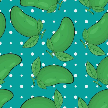 Unique and Trendy Fresh Green Mangos Irregular Seamless Pattern. Unique and Trendy irregular seamless pattern background for your unique design.