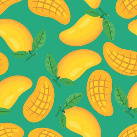Unique and Trendy Fresh Yellos Mangos Irregular Seamless Pattern. Unique and Trendy irregular seamless pattern background for your unique design.
