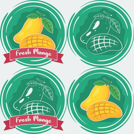 Set of Fresh Mango Illustration. Unique and Trendy Set of Fresh Mango Labels. Unique and Trendy vector for your unique design.