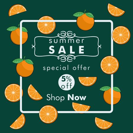 Unique and Trendy Summer Sale Banner or Poster With Fresh Orange Slices Decoration. Unique and Trendy Banner or Poster Background For Your Unique Design.
