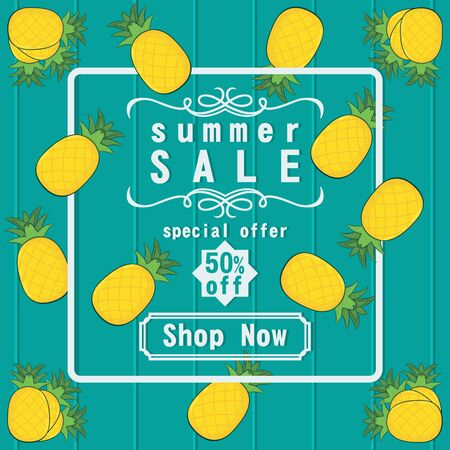 Unique and Trendy Summer Sale Banner or Poster With Fresh Yellow Pineapple Decoration. Unique and Trendy Banner or Poster Background For Your Unique Design.