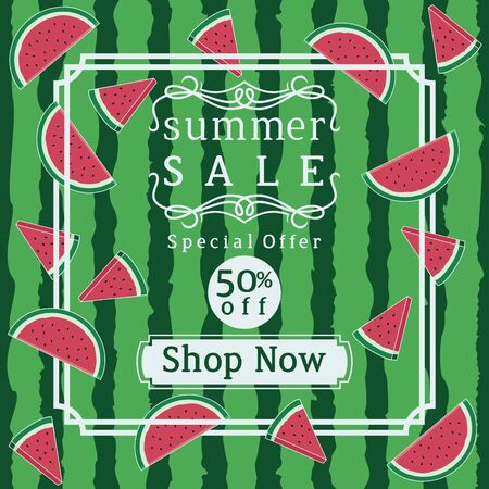 Unique and Trendy Summer Sale Banner or Poster With Fresh Watermelon Slices Decoration. Unique and Trendy Banner or Poster Background For Your Unique Design.
