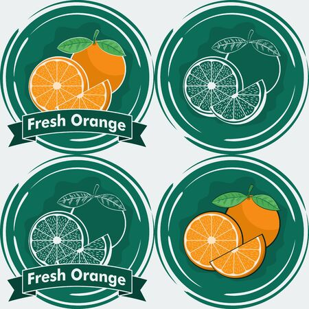 Set of Fresh Juicy Orange Illustration. Unique and Trendy Set of Fresh Orange Labels. Unique and Trendy vector for your unique design.