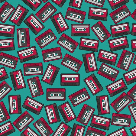 Colorful Irregular Seamless Cassette Pattern. Unique and Trendy irregular seamless pattern background for your unique design.