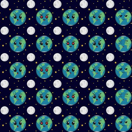Earth with various expressions. Unique and Trendy seamless pattern background for your unique design. 스톡 콘텐츠 - 129775799