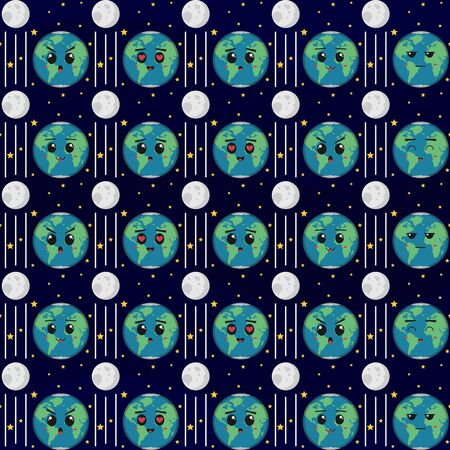 Earth with various expressions. Unique and Trendy seamless pattern background for your unique design.