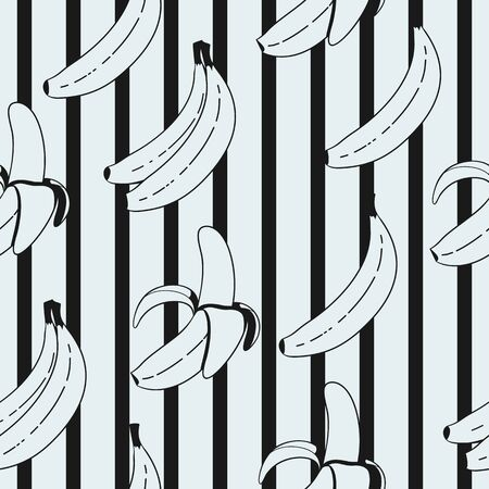 Black and White Banana Irregular Seamless Pattern With Black Stripes Ornament. Unique and Trendy irregular seamless pattern background for your unique design. Stock fotó - 129776397