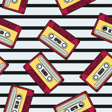 Colorful Vintage Cassette Irregular Seamless Pattern With Black Stripes Ornament. Unique and Trendy irregular seamless pattern background for your unique design.