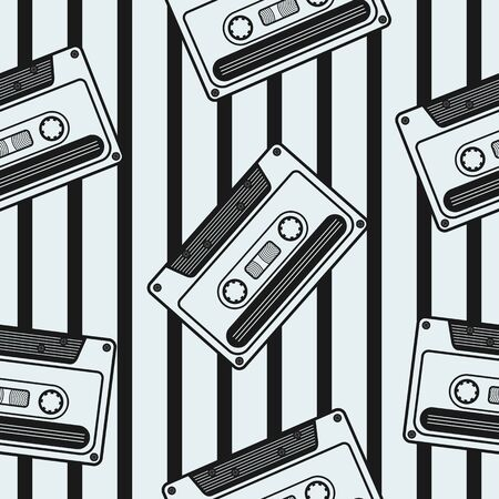 Black and White Retro Cassette Irregular Seamless Pattern With Black Stripes Ornament. Unique and Trendy irregular seamless pattern background for your unique design.