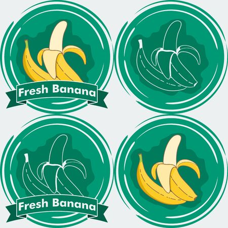 Set of Fresh Banana Illustration. Unique and Trendy Set of Fresh Banana Labels. Unique and Trendy vector for your unique design.